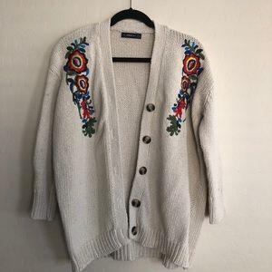 Zara Knit Embroidered Cardigan
